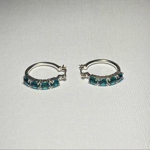 💥3 for $25💥 Vintage Silver Tone Hoop Earrings with Blue Rhinestones